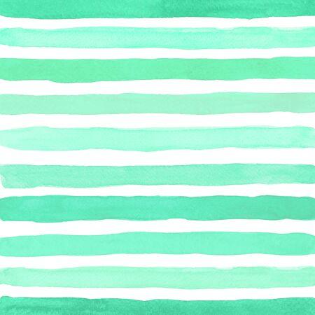 Watercolor artistic brush strokes. Trendy color Aqua Menthe. Banco de Imagens