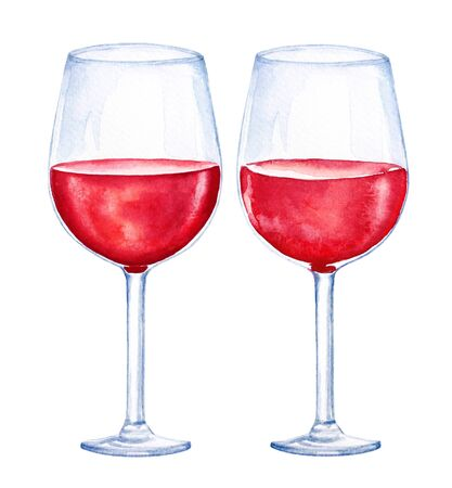 Watercolor illustartion of two glasses with red wine isolated on white background.