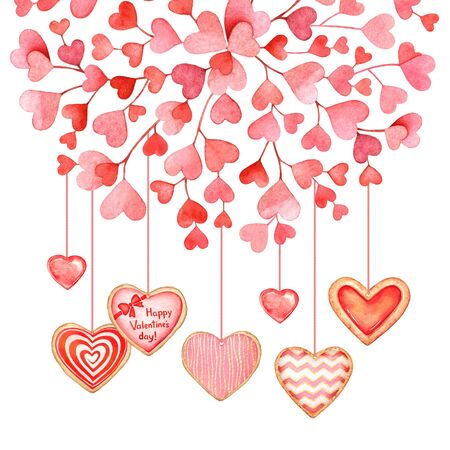 Watercolor red hearts with glazed heart shaped cookeis. Valentines day design.