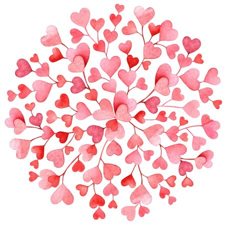 Watercolor pink and red hearts on white background. Love, concept art.. Useful for design of the Valentines day items, weddings, cards, textile and other.