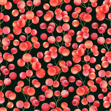 Watercolor red berries on black background. Seamless pattern.