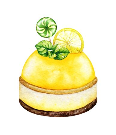 Watercolor illustration of a lemon dessert, decorated with mint leaves and a lollipop. Imagens