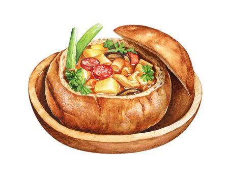 Watercolor illustration of soup with vegetables and sausages in a bread bowl served on a wooden plate.