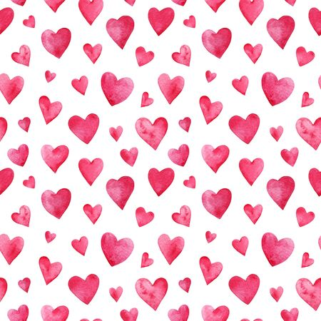 Seamless pattern with watercolor pink grungy hearts on white background.
