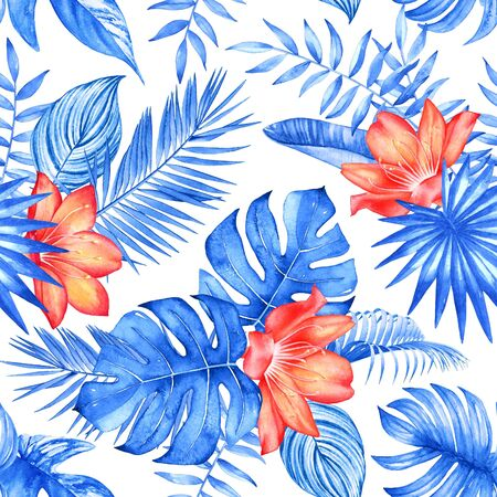 Seamless pattern with watercolor tropical plants and flowers on white background. Trendy colors of 2020 Phantom Blue and Lush Lava. Imagens