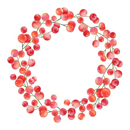 Watercolor round frame with red berries on white background. Imagens