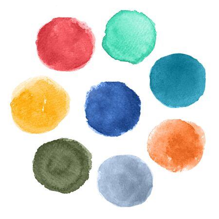 Watercolor brush strokes isolated on white background. Spring Summer 2020 Color Palette.