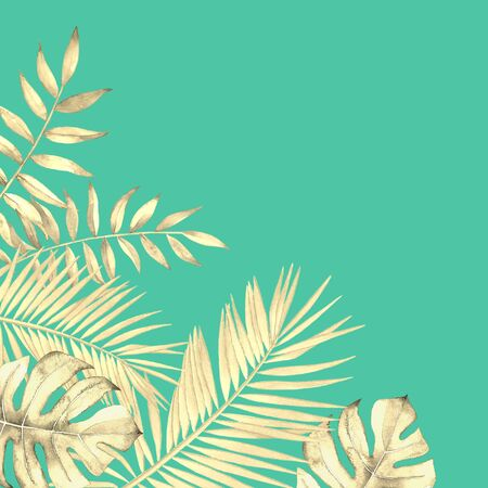 Floral design with watercolor tropical plants and leaves on blue green background.