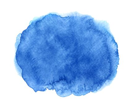 Abstract blue watercolor with stains on white background Imagens