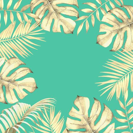 Floral design with watercolor tropical plants on blue green background.