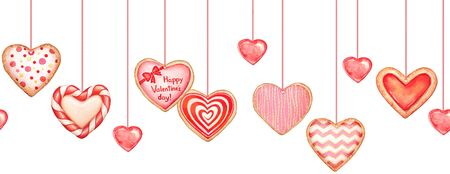 Seamless pattern with watercolor glazed heart shaped cookeis.