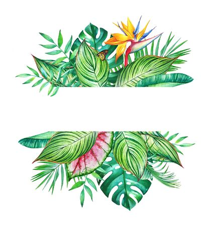 Floral design with watercolor tropical plants and flowers on white background.