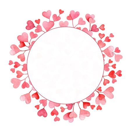 Watercolor round frame with pink hearts on white background. Love, concept art.