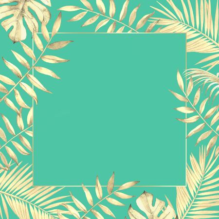 Floral frame with watercolor tropical plants and leaves on blue green background.