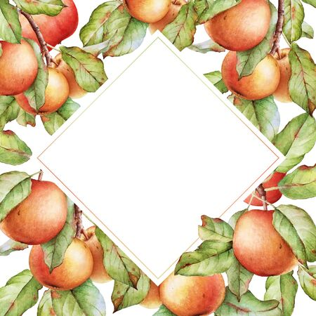 Frame with watercolor apple tree branches.