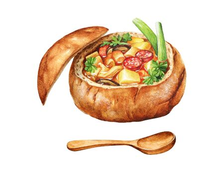 Watercolor illustration of soup with vegetables and sausages served in a bread bowl. Imagens