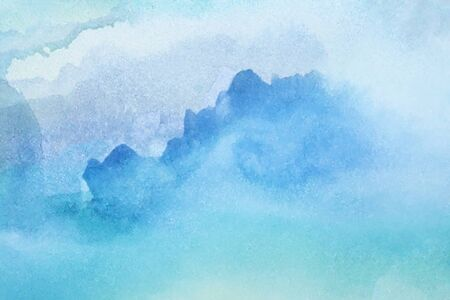 Abstract blue green watercolor backgrund with stains and paper texture