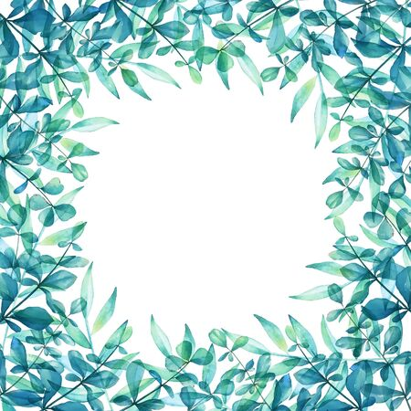 Floral frame with watercolor blue green plants on white background. Imagens