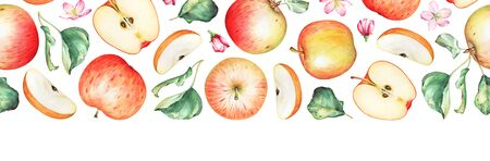 Seamless horizontal pattern with watercolor apples, green leaves and flowers.