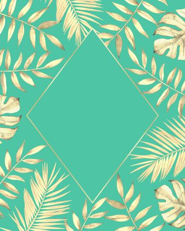 Frame with watercolor tropical plants and leaves on teal blue background.