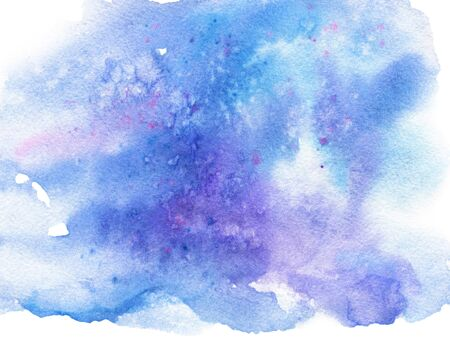 Abstract blue purple watercolor with stains on white background Standard-Bild