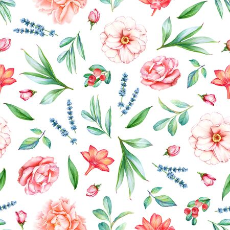 Seamless pattern with watercolor plants, flowers and berries on white background.
