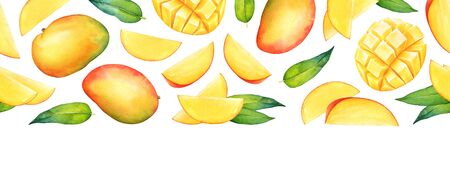 Seamless pattern with watercolor mango fruits and leaves