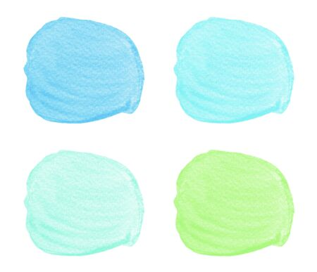 Collection of watercolor blue green brush strokes isolated on white background