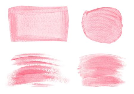 Collection of acrylic pink brush strokes isolated on white background Standard-Bild