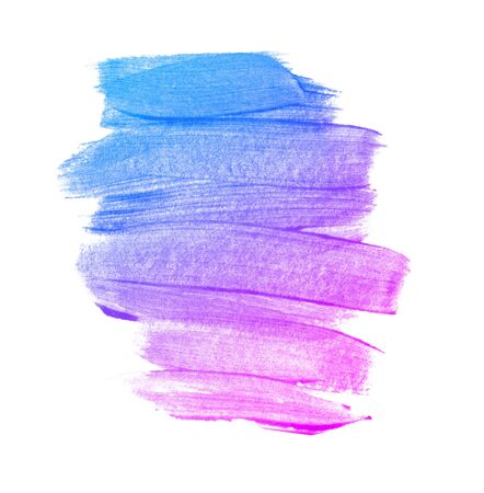 Acrylic brush strokes isolated on white background. Blue purple pink gradient abstract background
