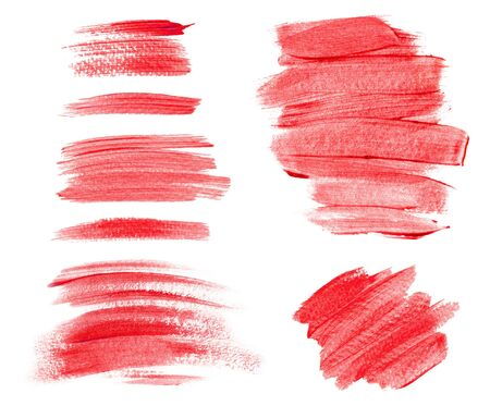 Collection of acrylic brush strokes and abstract blots isolated on white background