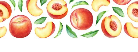 Seamless pattern with watercolor peach fruits and leaves isolated on white background