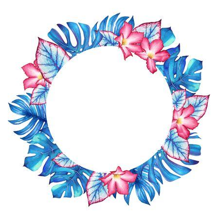Watercolor tropical round frame Standard-Bild