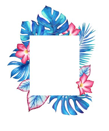 Watercolor tropical frame with blue leaves and pink flowers. Illustration for design of wedding invitations, greeting cards and banners.