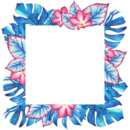 Floral frame with watercolor blue tropical plants and pink flowers on white background.