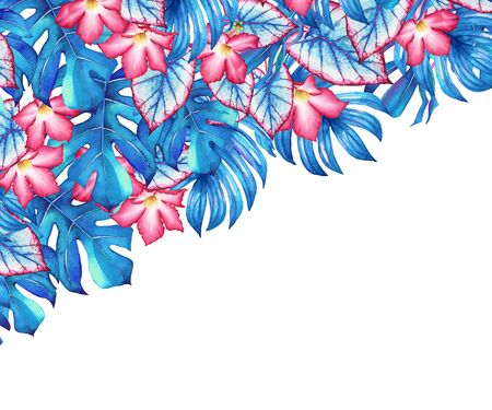 Watercolor tropical desig with blue leaves and pink flowers. Illustration for design of wedding invitations, greeting cards and banners.