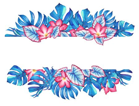 Watercolor tropical design with blue leaves and pink flowers. Illustration for design of wedding invitations, greeting cards and banners.