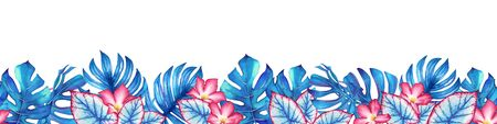 Seamless pattern with watercolor tropical plants and flowers. Useful for design of banners, cards, greetings, invitations and many others.