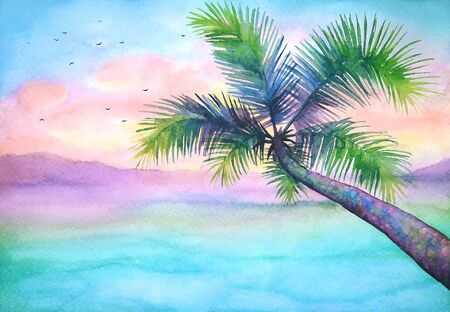 Watercolor tropical landscape with palm, vivid tropical background