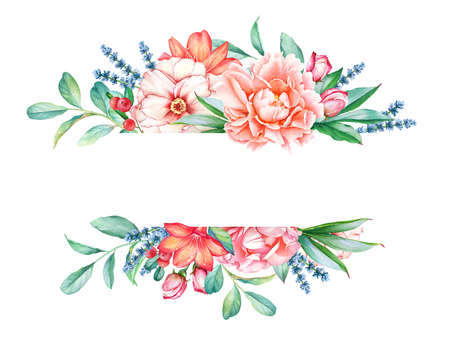 Floral border with lush watercolor bouquet and empty space for text.