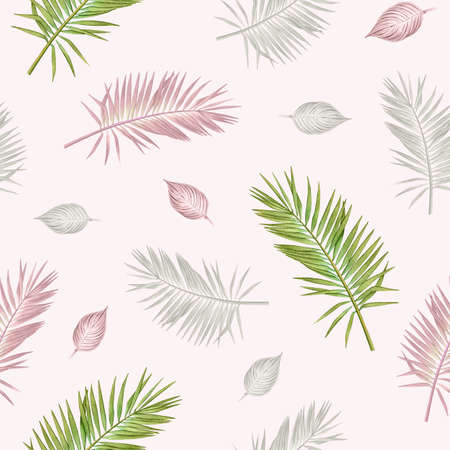 Seamless pattern with watercolor tropical plants in pastel colors on light pink background.