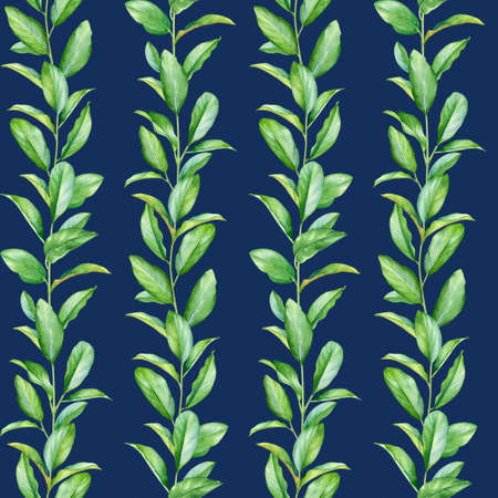 Seamless pattern with watercolor twigs with green leaves isolated on blue background.