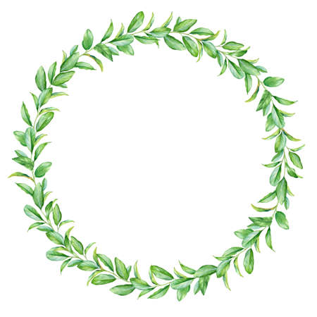 Watercolor round frame with green leaves isolated on white background. Standard-Bild