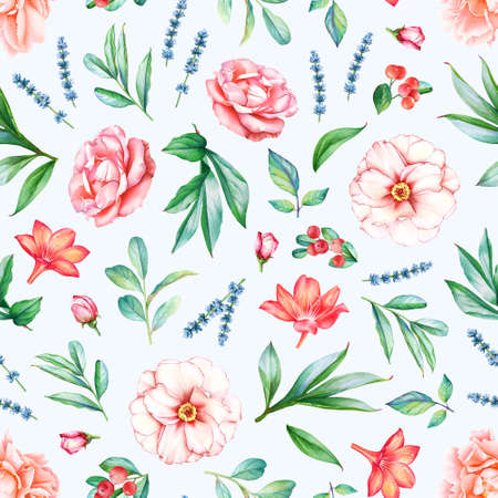 Seamless pattern with watercolor plants, flowers and berries isolated on light blue background.