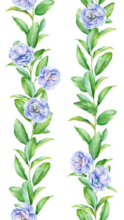 Collection of watercolor seamless floral borders. Lively green branches with blue flowers isolated on white background