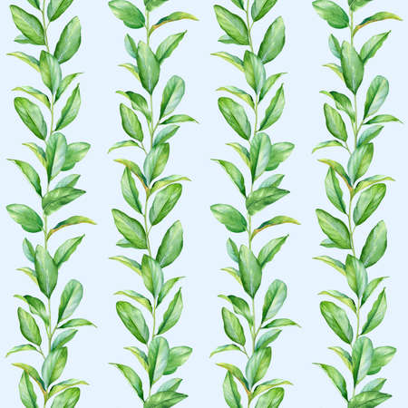 Seamless pattern with watercolor twigs with green leaves isolated on light blue background. Standard-Bild