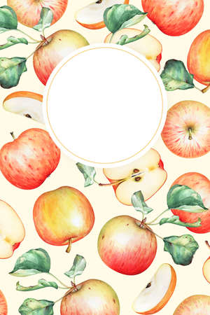 Pattern with watercolor red apples and leaves and a copy space for text. Fruit frame. Standard-Bild
