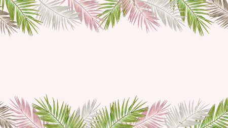 Floral design with watercolor tropical leaves in pastel colors on light pink background. Standard-Bild