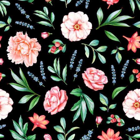 Seamless pattern with watercolor plants, flowers and berries isolated on black background.
