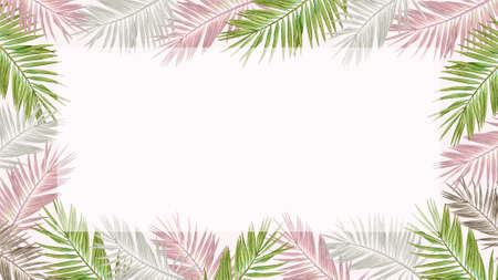 Floral frame with watercolor tropical palm leaves in pastel colors on light pink background. Standard-Bild